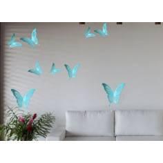 Πεταλούδες γαλάζιες , σετ,αυτοκόλλητο τοίχου