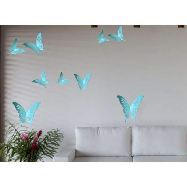 Πεταλούδες 3D γαλάζιες σετ,αυτοκόλλητο τοίχου