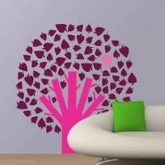 Δέντρο με ένα φύλλο καρδιά, αυτοκόλλητο τοίχου