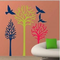 Αυτοκόλλητα τοίχου, Δέντρα και πουλιά, Birds & Trees γήινα χρώματα