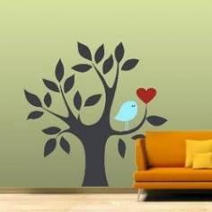 Καρδιά και πουλί γκρι μπλε, αυτοκόλλητο τοίχου
