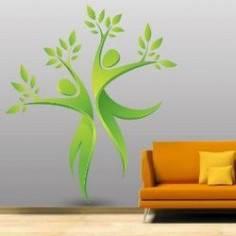 Αυτοκόλλητο τοίχου, δέντρα, άνθρωποι, φύλλα. Πράσινος χορός