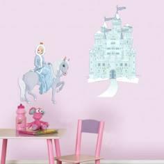 Αυτοκόλλητο τοίχου, Πριγκίπισσα άλογο και κάστρο.