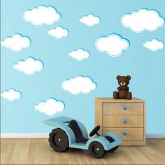 Αυτοκόλλητα τοίχου παιδικά, σύννεφα σε διάφορα μεγέθη