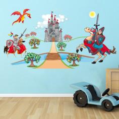Ιππότες , κάστρο και δράκος , παράσταση σε αυτοκόλλητα τοίχου