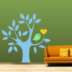 Αυτοκόλλητο τοίχου, Δέντρο, καρδιά και πουλί, γαλάζιο