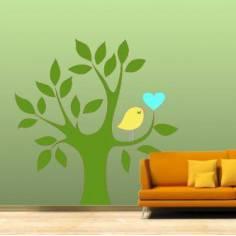 Αυτοκόλλητο τοίχου, Δέντρο, καρδιά και πουλί, πράσινο