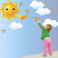 Αυτοκόλλητα τοίχου παιδικά, Ήλιος , σύννεφα και πουλιά