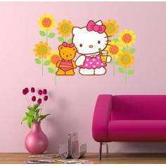 Hello Kity,flowers , αυτοκόλλητα τοίχου