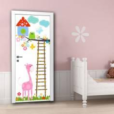 Χαρούμενη κουκουβάγια και οι φίλοι της ,αυτοκόλλητο πόρτας, ντουλάπας