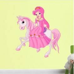 Πριγκίπισα στο άλογο της , αυτοκόλλητο τοίχου