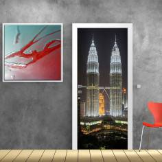 Kuala lumpur towers, αυτοκόλλητο πόρτας