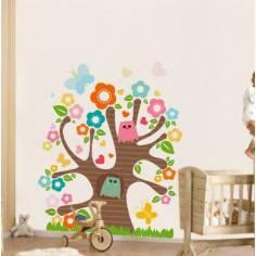 Αυτοκόλλητο τοίχου, δέντρο, κουκουάγιες, λουλούδια, Χαρούμενο δέντρο