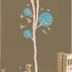 Design tree, λευκό - γαλάζιο με πουλιά, αυτοκόλλητο τοίχου