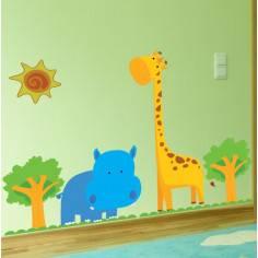 Happy Blue Hippo & Girrafe , παράσταση σε αυτοκόλλητα τοίχου με ζωάκια ιπποπόταμο , καμηλοπάρδαλη