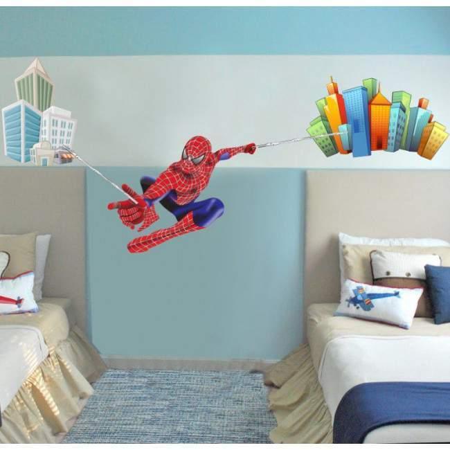 Spiderman on city , αυτοκόλλητα τοίχου