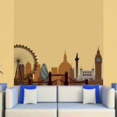 Λονδίνο, περίγραμμα με κυρίαρχες αποχρώσεις του καφέ ,αυτοκόλλητο τοίχου