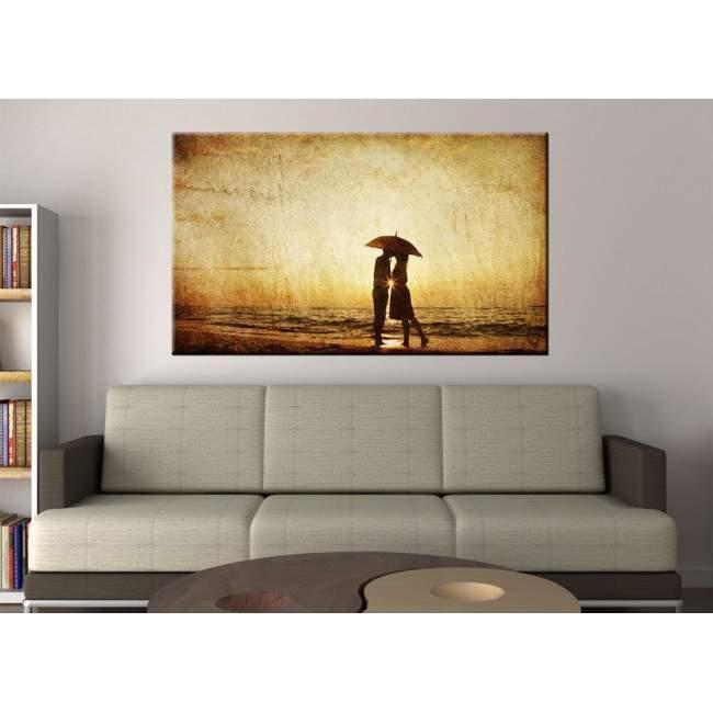 Sunset kiss, vintage, πίνακας σε καμβά