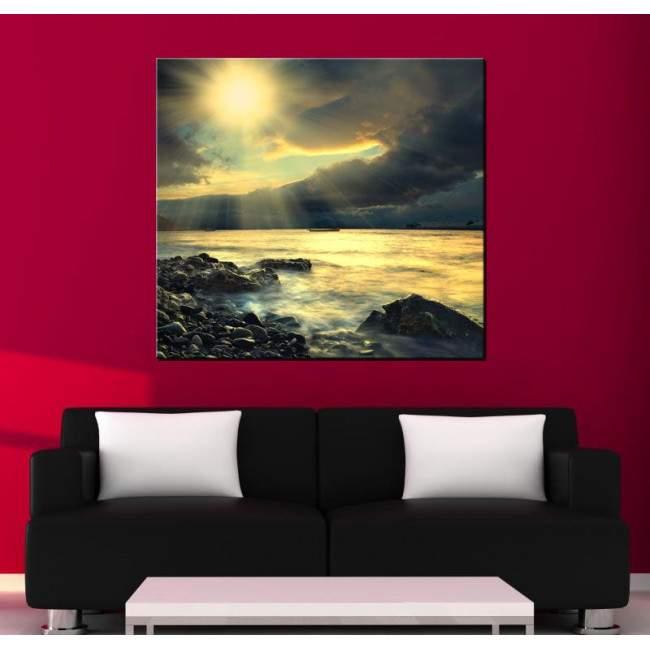 Πίνακας σε καμβά, Ηλιοβασίλεμα στη παραλία, Rough coast sunset