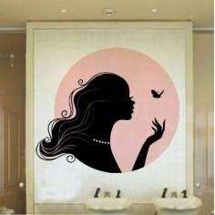 Αυτοκόλλητο τοίχου, Όμορφη γυναικεία σιλουέτα με πεταλούδα, Butterfly Kiss