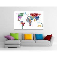 Πίνακας σε καμβά, Χρωματιστός παγκόσμιος χάρτης με λέξεις