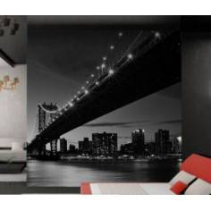 Η γέφυρα του Μανχάταν grayscale, ταπετσαρία τοίχου φωτογραφική