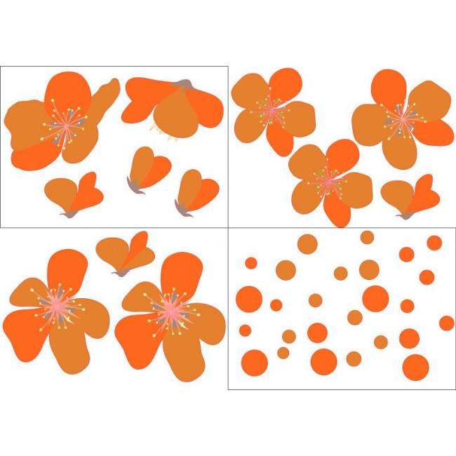 Πορτοκαλί άνθη, αυτοκόλλητο τοίχου