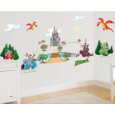 Ιππότες, κάστρο και δράκος, τεράστια παράσταση σε αυτοκόλλητα τοίχου