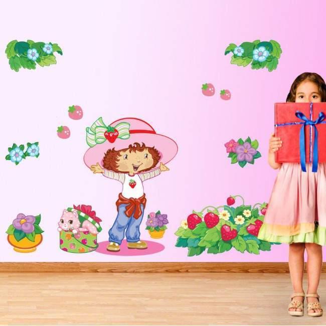 Η Φραουλίτσα και ο κήπος της, παράσταση σε αυτοκόλλητα τοίχου