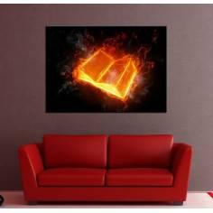 Φλεγόμενο βιβλίο, πίνακας σε καμβά