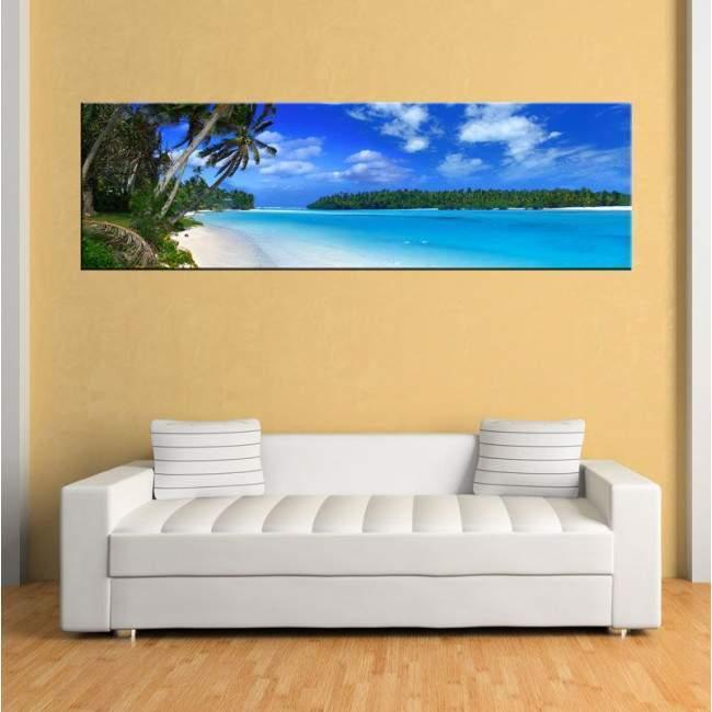 Πίνακας σε καμβά, Παραλία, φοίνικες, Beach landscape, πανοραμικός