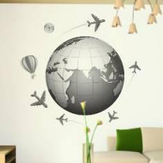 Αυτοκόλλητο τοίχου, Η γη, αεροπλάνα, αερόστατα, πυξίδα, Ταξίδι στον κόσμο 2