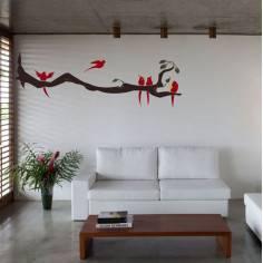 Αυτοκόλλητο τοίχου, κλαδί με πουλιά, Birds time