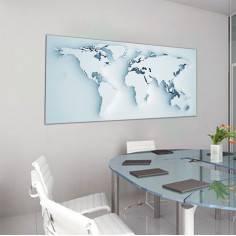 Παγκόσμιος χάρτης 3 D , πανοραμικός πίνακας σε καμβά
