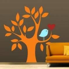 Καρδιά και πουλί σε υπέροχο συνδυασμό πορτοκαλί , αυτοκόλλητο τοίχου