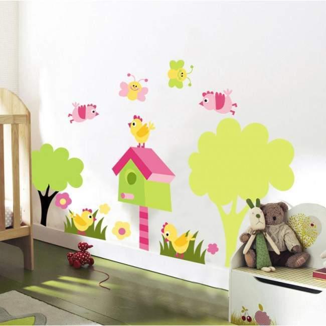 Πεταλούδες και πουλάκια στον κήπο, παράσταση σε αυτοκόλλητα τοίχου