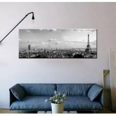 Paris skyline grayscale, πανοραμικός πίνακας σε καμβά