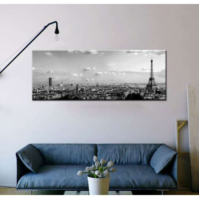 Paris skyline grayscale, πίνακας σε καμβά