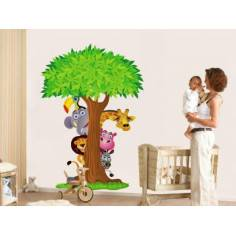 Αυτοκόλλητα τοίχου παιδικά, με δέντρο και ζωάκια της ζούγκλας, Κρυφτούλι με το δέντρο