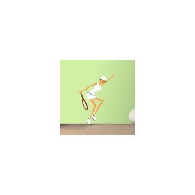 Γυναίκα Παίζει Τέννις Αυτοκόλλητο τοίχου