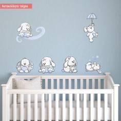 Κουνελάκια παντού γαλάζια, μικρή συλλογή αυτοκόλλητα τοίχου με κουνελάκια και σύννεφα