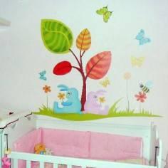 Αυτοκόλλητα τοίχου παιδικά, κουνελάκια, λουλούδια, πεταλούδες, Ανοιξιάτικο δέντρο
