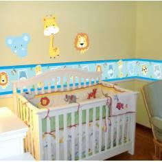 Μπορντούρα, αυτοκόλλητο τοίχου, με ζωάκια ζούγκλας, Safari animals (baby blue)
