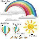 Ουράνιο τόξο , αερόστατα , ήλιος και πουλιά, αυτοκόλλητο τοίχου
