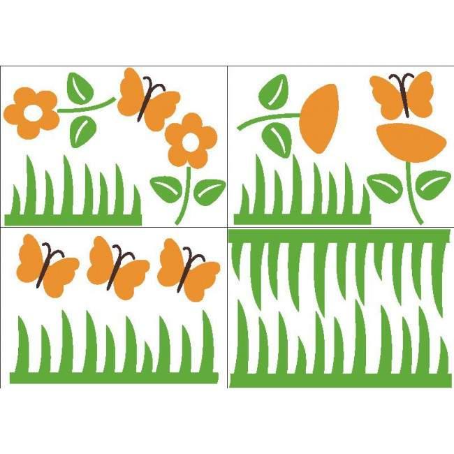 Γρασίδι , λουλούδια και πεταλούδες , αυτοκόλλητα τοίχου.