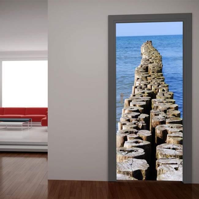 Ξύλινο μονοπάτι στην θάλασσα, αυτοκόλλητο πόρτας
