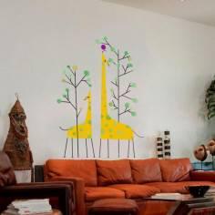 Αυτοκόλλητα τοίχου παιδικά, Καμηλοπάρδαλη, μαμά και παιδί, Giraffes