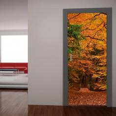 Φθινοπωρινό μονοπάτι στο δάσος, αυτοκόλλητο πόρτας