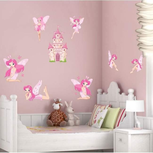 Αυτοκόλλητα τοίχου παιδικά, Νεράϊδες και κάστρα