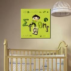 Πίνακας σε καμβά παιδικός, Παιχνιδιάρης, με όνομα